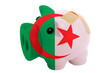 closed piggy rich bank with bandage in colors national flag of a