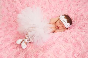 Newborn Baby Girl Wearing a White Ballerina Tutu