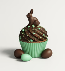 Green Isolated chocolate cupcake, spring and Easter celebration