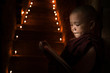 Little monk reading book