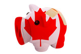 closed piggy rich bank with bandage in colors national flag of c