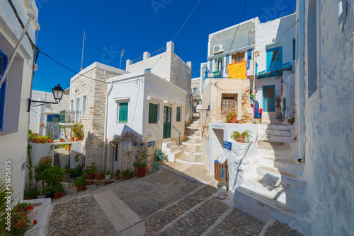 Greece Siros, street view of traditional Greek houses in chora,