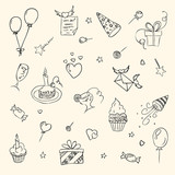 birthday hand drawn sketch icons