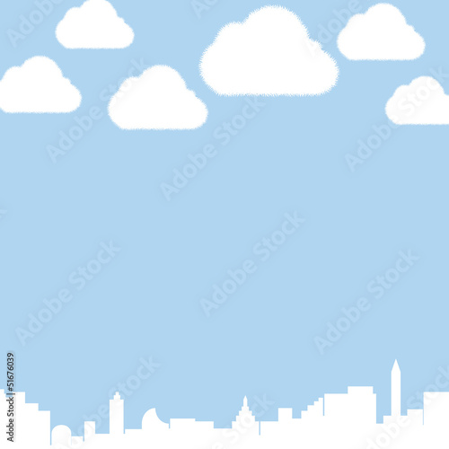 City and clouds