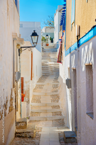 Greece Siros, traditional view of narrow streets and tiny walk p