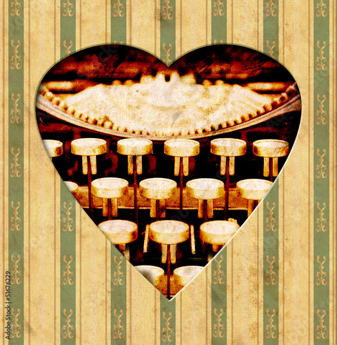 Papiers peints Affiche vintage Vintage Heart - Tasten