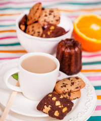homemade cookies with a cup of coffee with milk