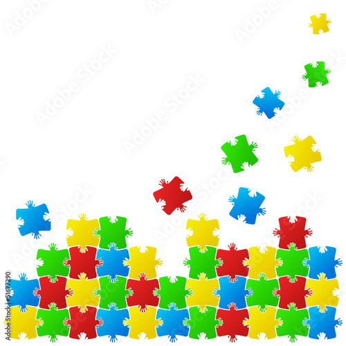 Abstract vector background made from puzzle pieces