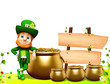 Leprechaun for st patrick day standing near pot