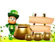 Leprechaun for st patrick day standing near pot