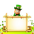Leprechaun for st patrick day with big sign and golden pot