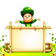 Leprechaun for st patrick day with big sign