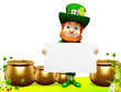 Leprechaun for st patrick day with sign and golden pot