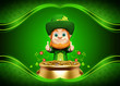 Leprechaun for st patrick day with golden coins