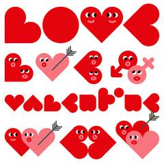 Cartoon hearts, love typography