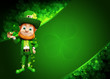 Leprechaun for st patrick's day with smoking pipe