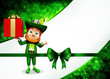Leprechaun for st patrick's day with big gift