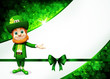 Leprechaun for st patrick's day with green ribbon