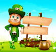Leprechaun standing near sign for st patrick's day with pot