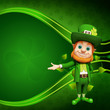Leprechaun for st patrick day on green background