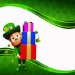 Leprechaun holding gift pile for st patrick's day