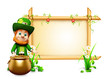 Leprechaun for st patrick's day with big sign and coins