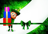 Leprechaun for st patrick's day with pile of gifts