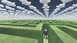 Figure inside of maze with arrow clouds above