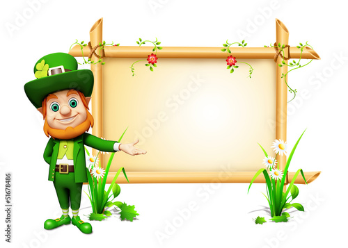 Leprechaun for st patrick's day with big sign