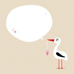 Card Stork With Pacifier Speech Bubble Beige/Pink