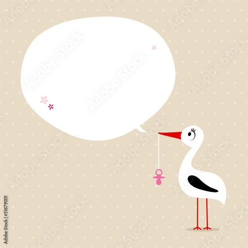 Card Stork With Pacifier Speech Bubble Beige/Pink