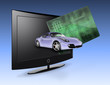 Flat Panel with credit card and car