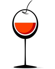 Calice di Vino con acino d'uva