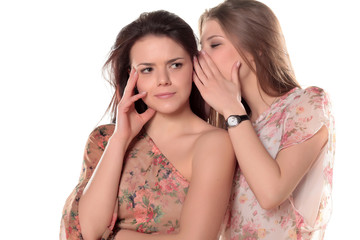 Two teenage girls gossiping interesting news