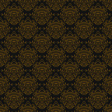 Vintage linear damask pattern with gold lines