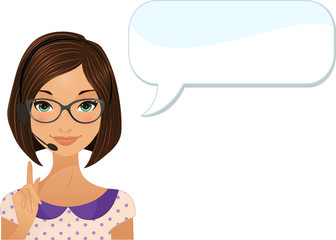 Customer service agent with dialog bubble