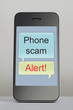 Mobile phone with scam message speech bubble