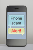 Mobile phone with scam message speech bubble poster