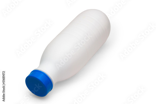 milk bread plastic bottle lies side isolated on white background
