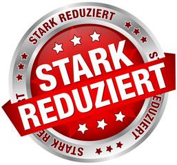 """Button Banner """"Stark reduziert"""" rot/silber"""