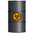 Black barrel with biohazard sign