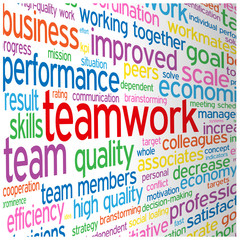 """TEAMWORK"" Tag Cloud (team management goals targets objectives)"