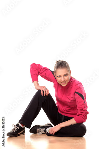 portrait of a beautiful teenage girl in tracksuits