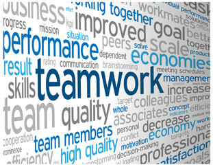 """TEAMWORK"" Tag Cloud (team management goals targets success)"
