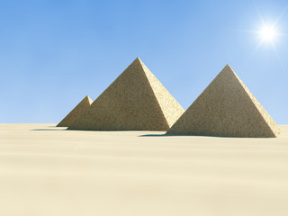 3d Illustration of Ancient Pyramid in desert