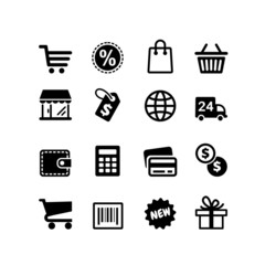 16 icons set. Shopping pictograms