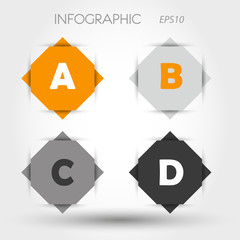 orange and grey rhombus infographic ABCD