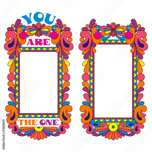 Abstract psychedelic border, picture frame, declaration of love
