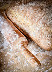 homemade bread on wooden boarder, raw organic food concept