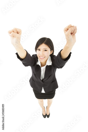 young happy business woman with success gesture